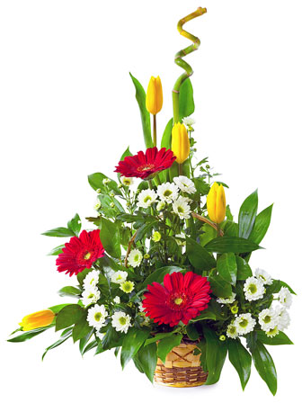 colorful flower bouquet in a basket